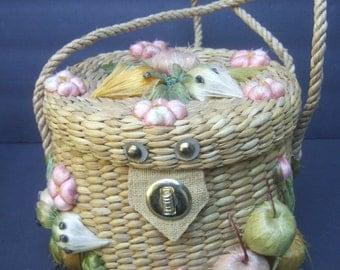Whimsical Woven Straw Vegetable Theme Handbag c 1970
