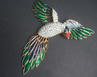 Massive Crystal Enamel Bird Brooch