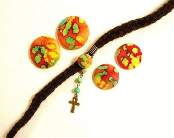 Button Fab - Multi-colored Batik Fabric Button Post Earrings and Gemstone Loc Jewel