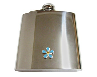 Turquoise Flower 6 oz. Stainless Steel Flask