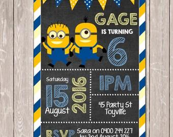 Minion Themed Personalised Chalkboard Birthday Invitation - YOU PRINT
