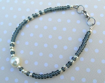 Seed bead and freshwater pearl bracelet,beaded bracelet,casual chic,white,grey&silver