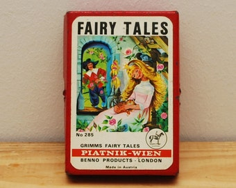 Grimms Fairy Tales card game, vintage childs flashcards, Piatnick Wien Benno Products