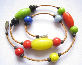 """CLEARANCE Vintage Unisex Choker Necklace has Glass Beads in Primary Color Glass Beads with Black Horn Spacers. 15-1/8"""" Clasped Length."""