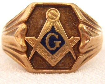10k Rose Gold Masonic Ring.  1940s Vintage. Signed with Church & Co. mark.  Inlay around G is Deep Lapis Blue.  Signed 10K with maker's mark