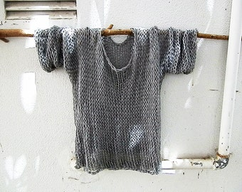 Hand-knit sweater, loose knit cotton sweater