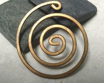 "Vintage 2"" Brass Spiral Findings.  4 pcs."
