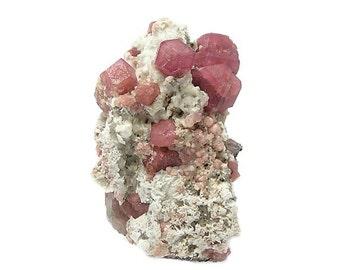 Garnet Gemstone Crystals,  Rose Pink Raspberry Grossular Garnet in Rock Matrix, Natural Gem Crystals, Rocks and Minerals for a Collection
