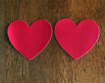 Cherry Red Vinyl Heart Patches
