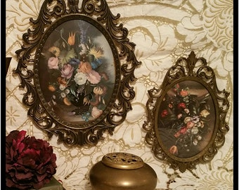 Antique Italian Ornate Bubble Glass Picture Frames - Convex Glass Picture Frames - Victorian Picture Frames - Antique Floral Picture Frames