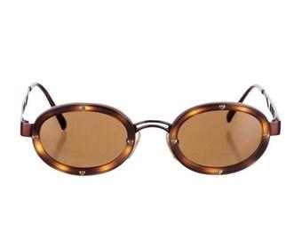 10,000 LIKES 7 Day Sale 90s MOSCHINO LUXE Tortoiseshell + Gunmetal Round / Oval Vintage Designer Sunglasses w/ Loveheart Screws