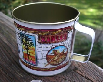 Vintage Kansas Souvenir Cup - Sunflower State Tin Mug - Wheat Farm - Water Windmill - Buffalo - Deer