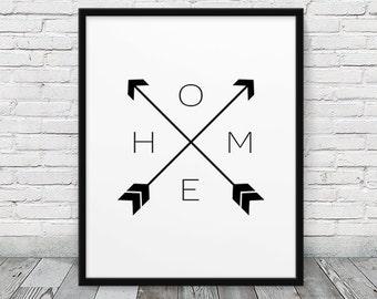 Home Print. Home & Arrows Print Black White Art Print. Home Art Typography Print. Minimalist Modern Art Home Office Decor. Printable