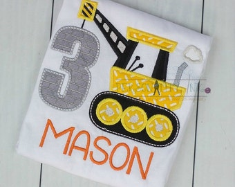 Construction birthday Shirt - Boys crane tshirt - Under Construction - Birthday shirt