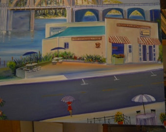 Oregon Coastal Town, Florence, Oregon, Original Oil, 72x41, Coffee Roasters Siuslaw River Landmark, Bay Street,Fishing Town, Dan Leasure