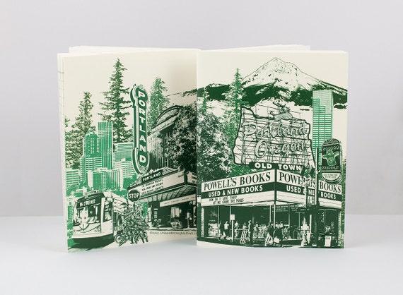 "Portland Notebook // Mini Journal // Lined Notebook // Cityscape // Collage // Portlandmark Notebook 4.5""x6"""