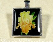 Bearded Iris Pendant, Yellow Iris Jewelry, Iris Necklace  Bearded Iris Gifts, Mother's Day Pendant, Gift for Mom, Bridesmaid Gifts