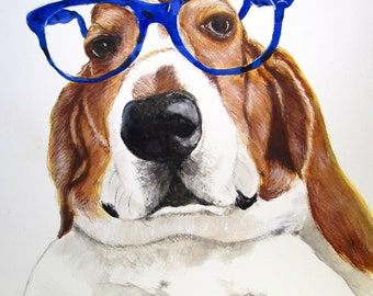 Basset Hound Print, Basset Hound Art, Basset Hound Painting, Basset Hound Wall Decor, Basset Hound Home Decor, Basset Watercolor