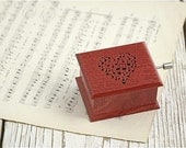 Gift for her for mom for musiclover red heart music box wooden music heart notes Mozart: Magic Flute