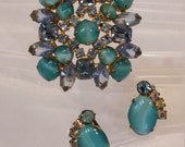 Fabulous Demi  Rhinestone and Moonglow Brooch and Earrings
