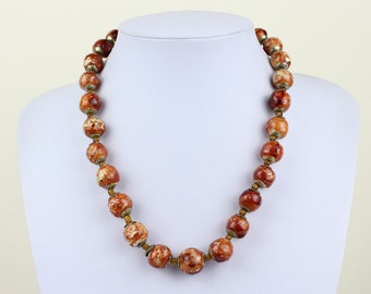 Handmade NATURAL Clay Beads Necklace  FREE Earrings Hand Painted Multi Colour Lariat. Kazuri Type. MapenziGems NCS21