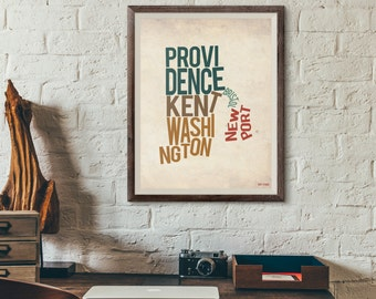 Rhode Island by County - Typography Print