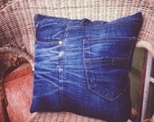 Jeans Pillow Cover, Recycled Denim Jeans, appr. 35cm square