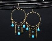 Gold Turquoise Earrings | Desert Goddess Hammered Gold Fill Earrings w. Blue Turquoise | Gold Turquoise Chandelier Earrings