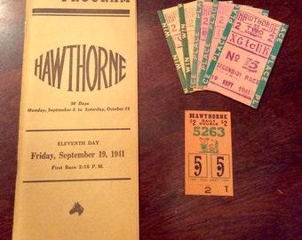 1941 Hawthorne Horse Racing Program and Betting Stubs