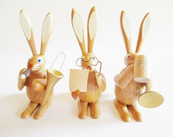 Trio of Adorable German Vintage Easter Erzgebirge Wooden Musicians Bunnies, made in the DDR Erzgebirge