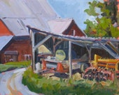 ORIGINAL landscape oil painting. Plein Air Art. Small painting. Kuerner Farm shed with barn. Impressionist. Rural scene. Affordable gift.