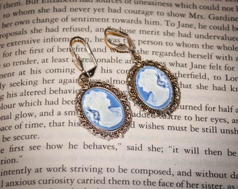 Downton Abbey Inspired Hanging Cameo Earrings: Red