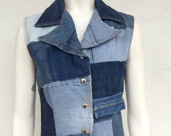 70s ooak cool patchwork handmade denim collared vest/top with snap detail