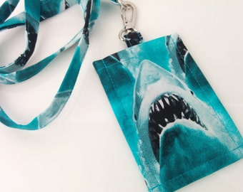 Lanyard Holder,  JAWS Novelty Cotton Print  Clip On ID Holder with Hidden Cash Stash with Matching Lanyard