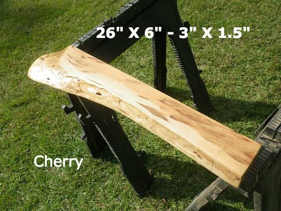 Live edge cherry finished wood slab natural edge shelving diy for Finished wood slabs