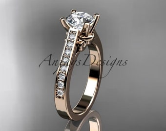 """14kt rose gold diamond unique engagement ring, wedding ring with a """"Forever One"""" Moissanite center stone ADER134"""