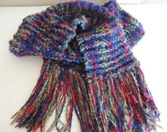 Hand Knitted Scarf Multi Color Yarn Rich Colors Silky Soft and Lovely Washable Extra Long