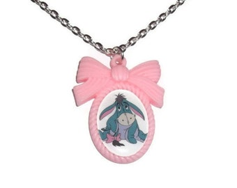 Eeyore Necklace, Kawaii Pink Cameo Necklace, Winnie the Pooh Character