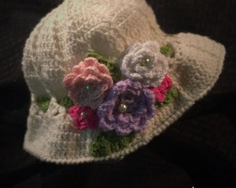 Spring Floral Panama Hat- adult to child sizes