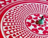 Vintage Large Cotton Heart Design Round Tablecloth