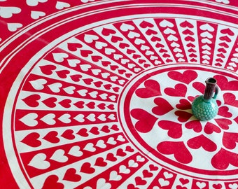 Vintage Large Cotton Heart Design Round Tablecloth