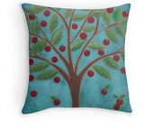 Decorative Pillow Cover Red and Turquoise Home Decor Cherry Tree Retro Style Trending Colors Spring Throw Pillow Bedroom Decor Gift for her