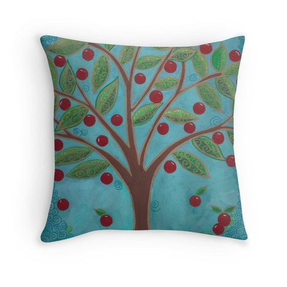 Decorative Pillow Cover Red and Turquoise Home Decor Cherry