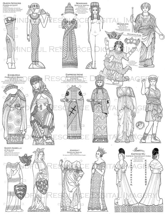items similar to infamous women paper doll coloring pages printable vintage colouring villian. Black Bedroom Furniture Sets. Home Design Ideas