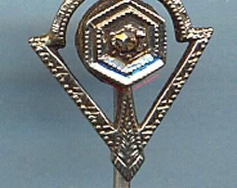 14K White Gold and Diamond Stick Pin  ART DECO  Item: 10127
