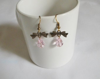 Pink Crystal Drop Dangle Earrings With Bow, Peirced