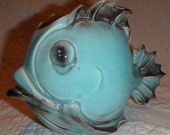 Mid Century Aqua Fish Planter