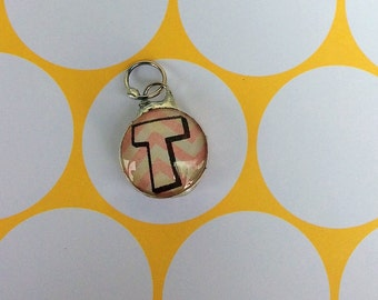 Two Sided Soldered Glass Pendant Initial T for a necklace