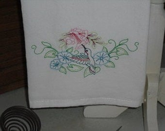 Vintage Style Hummingbird Flour Sack Towel. Machine Embroidered.