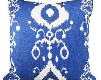 Blue and White Ikat Pillow Cover - Blue and White Ikat Throw Pillow - Decorative Pillow Cover - Accent Pillow Cover in Blue Ikat